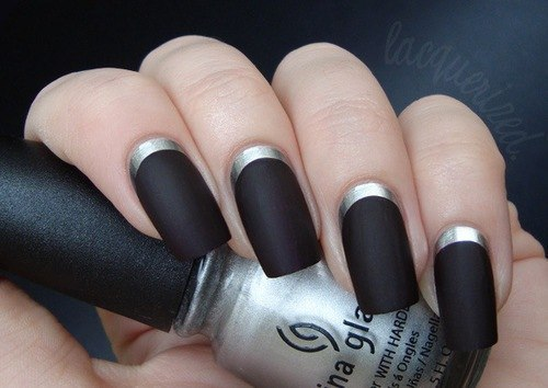 Stripped black china nails