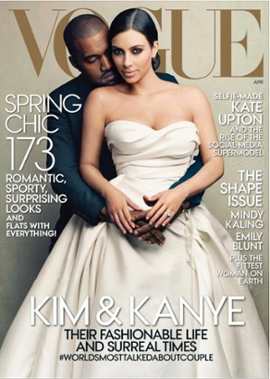 Kanye West and Kim Kardashian on the cover of US Vogue