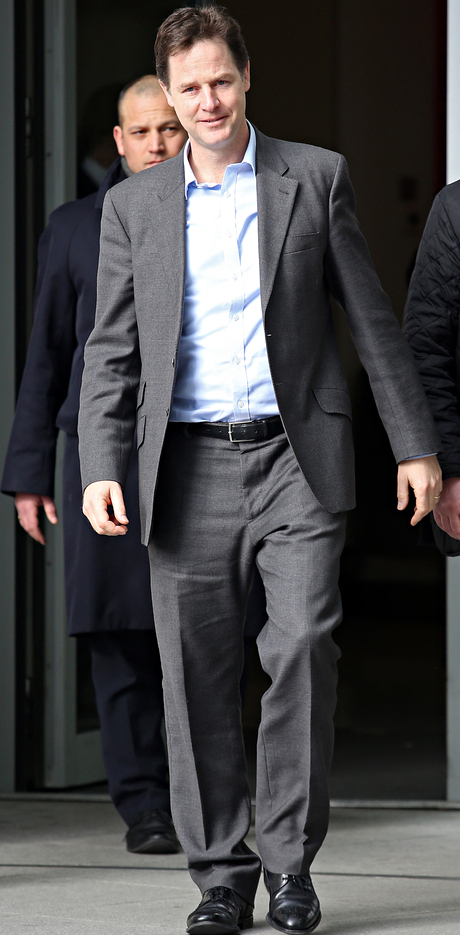 Nick Clegg in a suit with no tie