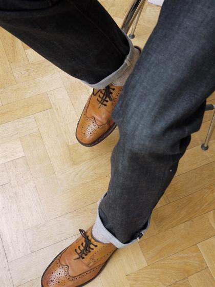older men, denim, jeans, brogues