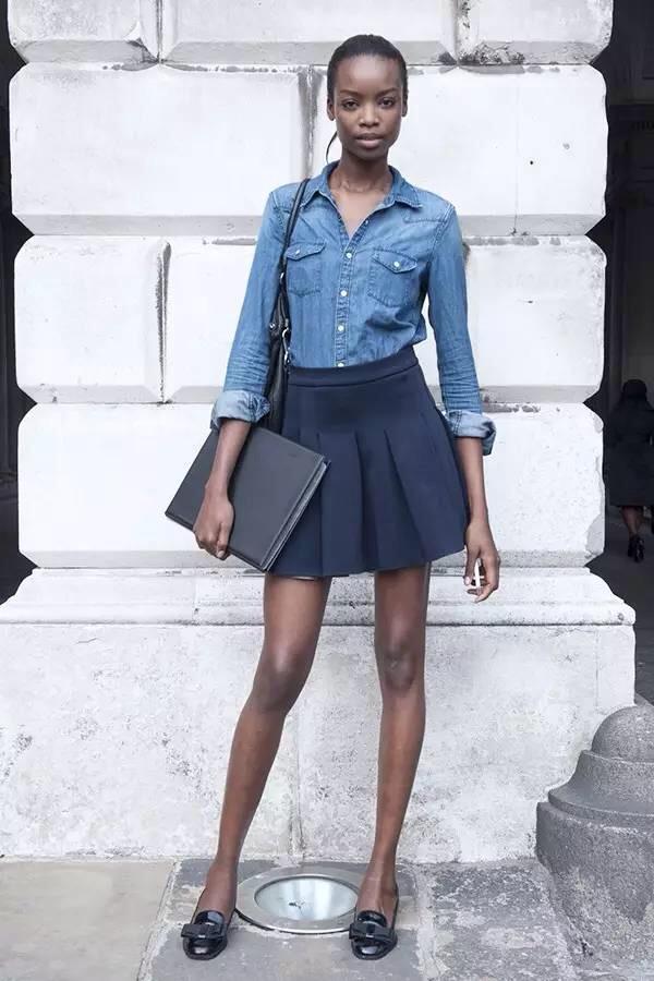 Jean shirt and black skirt