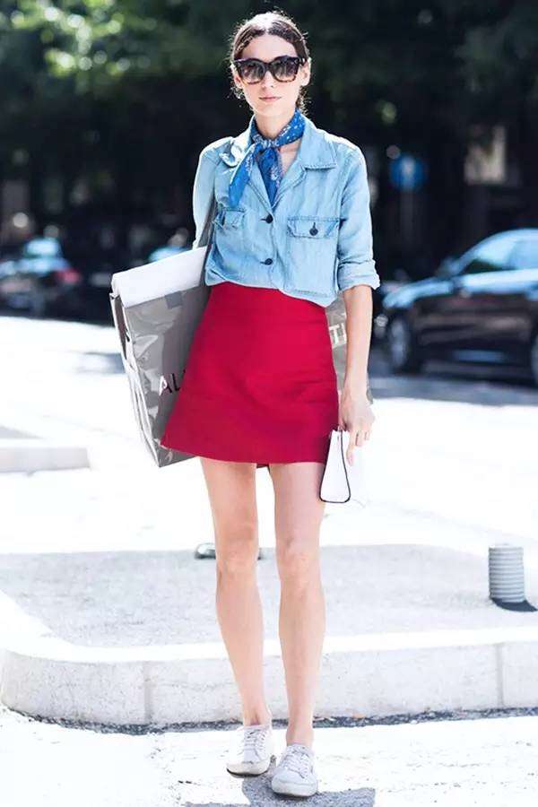 jean shirt and red skirt