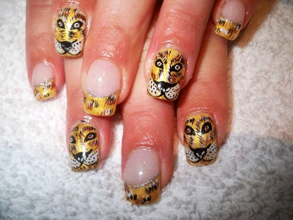 Tiger Angry Face Nail Designs