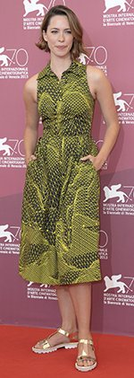 Rebecca Hall wearing Christopher Kane metallic sandals