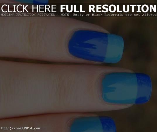 French Tip Nail Designs Old Blue Color
