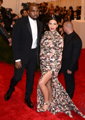 Kanye West and Kim Kardashian attend the Metropolitan Ball on May 6, 2013