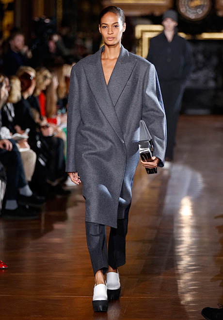 A model presents a creation by British designer McCartney as part of her Fall-Winter 2013/2014