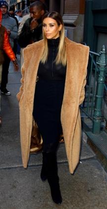 Kim Kardashian and Kanye West in New York, America, on 24 Nov 2013.