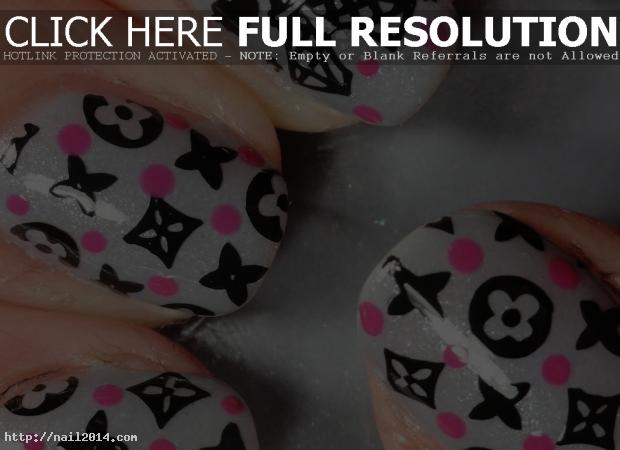 Paris Louis Vuitton Nail Grey Pattern
