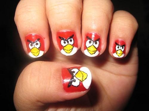 Angry Bird Nail Pattern Art