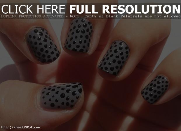 Black Nail Design Dots