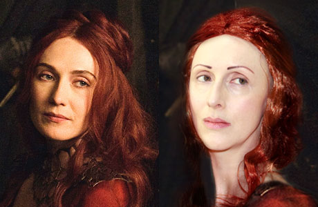E's Game of Thrones makeover as Melisandre