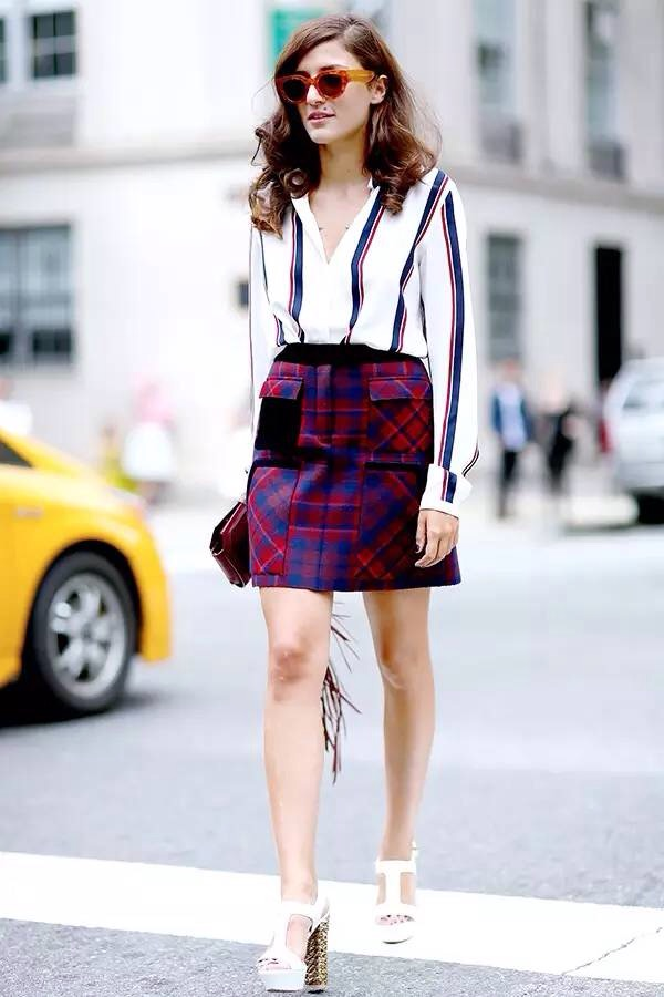 striped top and plaid skirt