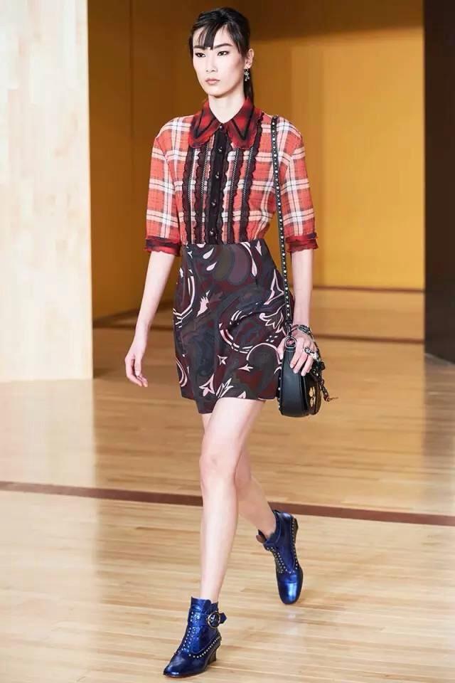 plait shirt, a line floral skirt, platform boots
