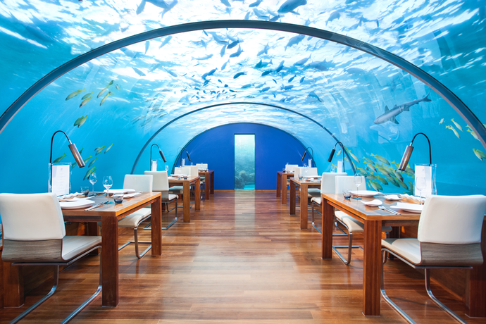 Underwater Ithaa Restaurant in the Conrad Maldives Rangali Island hotel in the Maldives