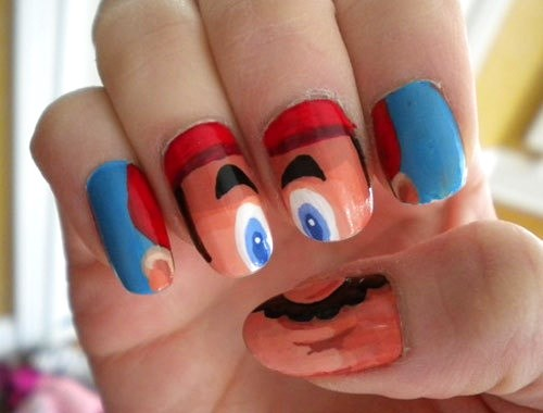 mario Angry Face Nail Ideas